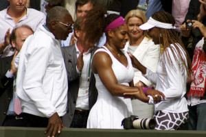 Venus and Serena Williams w/ Father/Coach Richard Williams [Courtesy: en.wikipedia.org] sports politics finance