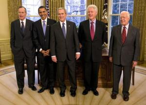 Five Presidents - Bush I, Obama, Bush II, Clinton, Carter sports politics finance